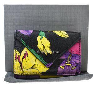 BALENCIAGA Logo Trifold Wallet Purse Leather Pink